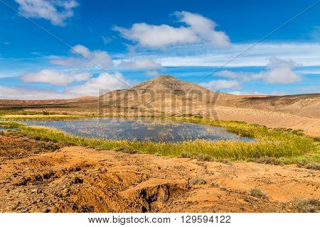 Remote Lake With Mountain In Fuerteventura Inland - Canary Islands Spain
