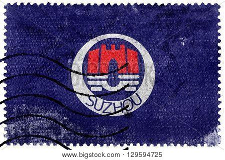 Flag Of Suzhou, China, Old Postage Stamp