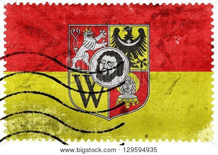 Flag Of Wroclaw With Coat Of Arms, Poland, Old Postage Stamp