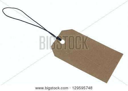 Carton label on rope against of white background