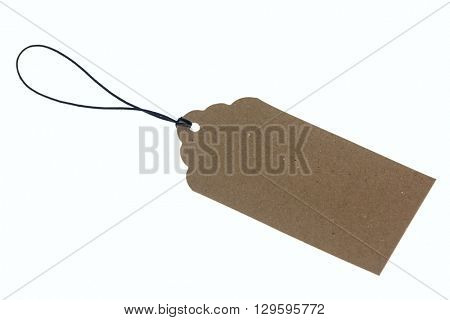 Close-up of cardboard label with rope on white background