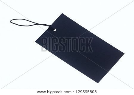 Close-up of blue carton label on blue rope.White background.Isolated