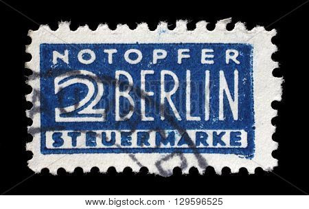 ZAGREB, CROATIA - JUNE 24: Postal tax stamp printed in Germany in favor of West Berlin, circa 1948 - 1956, on June 24, 2014, Zagreb, Croatia