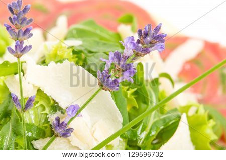 Veal carpaccio with fresh herbs and parmesan. Decorated with flowers. Macro. Photo can be used as a whole background.