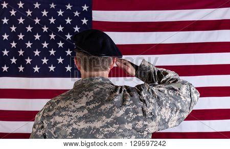 Veteran soldier back to camera saluting USA flag.