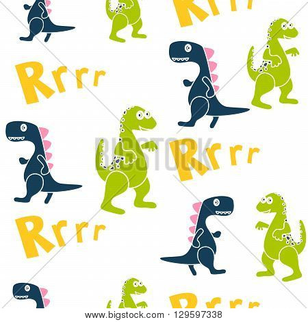 Blue and green dinosaurs kid seamless vector pattern for textile print. Happy cartoon dino reptile with rrrr text on white. Kid textile pattern.