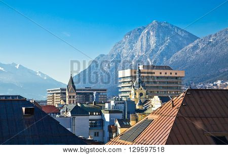Austria Tyrol panoramic whew over the Innsbruck town