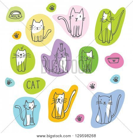 Set of cat illustrations -stickers Freehand drawing