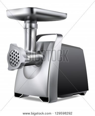 Photorealistic electric meat grinder on white background
