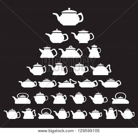 Pot and kettle collection. Vector set of icons kettle of different shapes and sizes.
