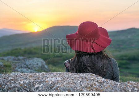 Female Hiker Enjoying Sunset