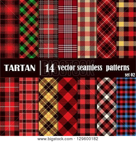 Set Tartan Seamless Pattern. Lumberjack Flannel Shirt Inspired. Seamless Tiles. Trendy Hipster Style Backgrounds. Vector File's Pattern Swatches