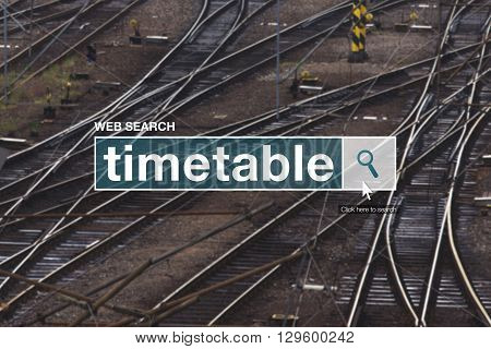 Railway timetable web search box on internet
