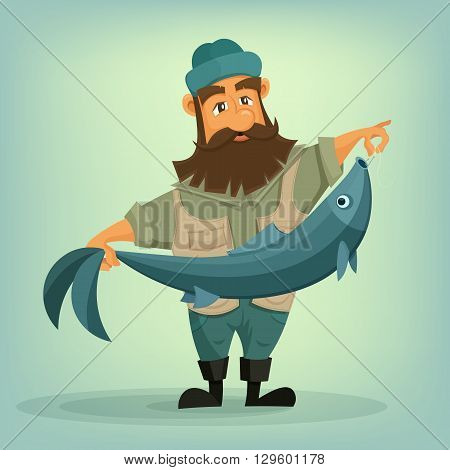 Bearded fisherman with big fish in his hands. Vector illustration.