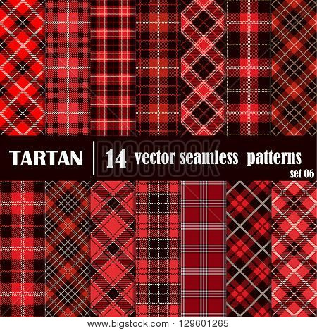 Set Tartan Seamless Pattern in Red Colors. Lumberjack Flannel Shirt Inspired. Seamless Tiles. Trendy Hipster Style Backgrounds. Vector File's Pattern Swatches