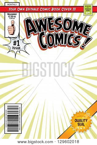 Illustration of a cartoon editable comic book cover template with super hero magazine style titles and subtitles to customize and wrong bar code and label