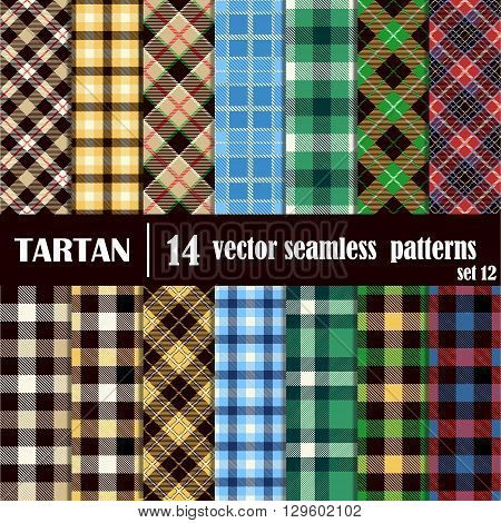 Set tartan seamless pattern in different colors. Lumberjack flannel shirt inspired. Seamless tiles. Trendy hipster style backgrounds. Vector file's pattern swatches