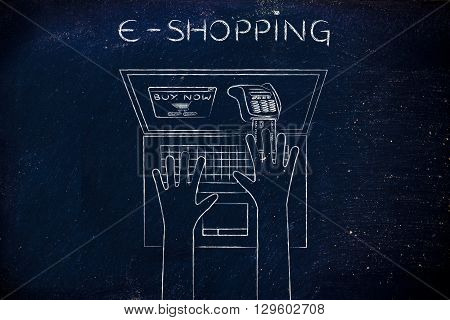 Laptop User Inserting Credit Card Into Virtual Pos, E-shopping