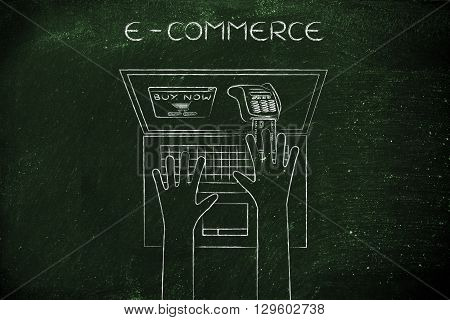 Laptop User Inserting Credit Card Into Virtual Pos, E-commerce