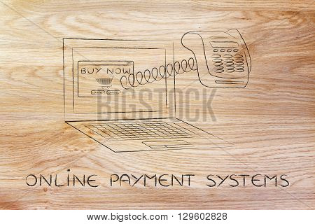 Laptop With Funny Pos Terminal Out Of Screen, Online Payment System