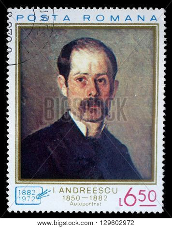 ZAGREB, CROATIA - JULY 18: a stamp printed in Romania shows Self portrait by Ion Andreescu (1850-1882), circa 1972, on July 18, 2012, Zagreb, Croatia