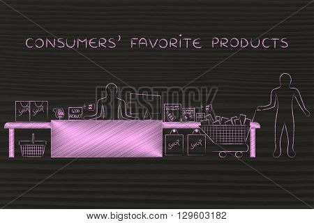 Cashier And Customer With Shopping Cart, Consumers' Favorite Products