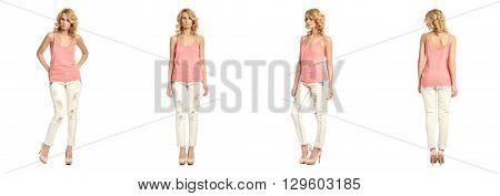 Full Length Portrait Of Beautiful Woman In  Jeans Isolated