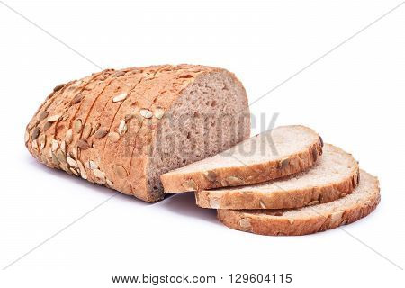 sliced pumpkin seed bread isolated on white