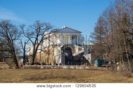 SAINT-PETERSBURG RUSSIA - March 14 2015: Tourists visiting the Cameron gallery in Catherine's Park in Tsarskoye Selo (Pushkin) 30 km south of Saint- Petersburg Russia