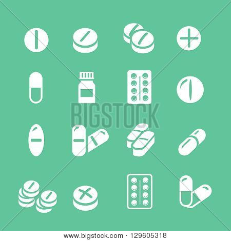 Medical pills tablet icons white set collection.