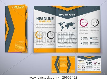 Template Triple Folding Brochure Design Style Material