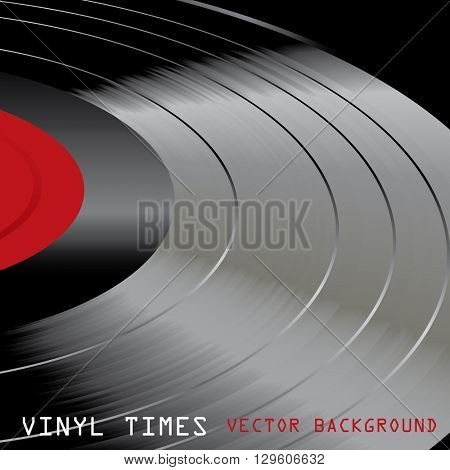 vector vinyl record retro background, macro drawing