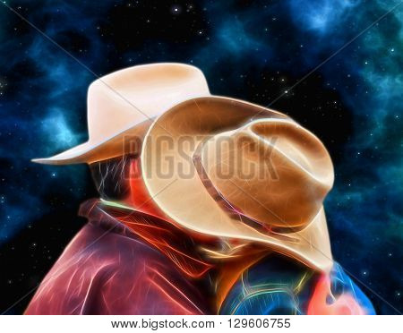 Couple kissing each other against nebula background