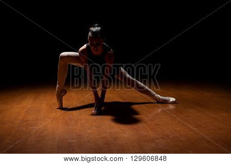 Pretty Ballet Dancer Performing In A Stage