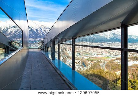 Austria Tyrol Innsbruck panoramic view over the city and Inn valley from Bergisel skijamping stadium
