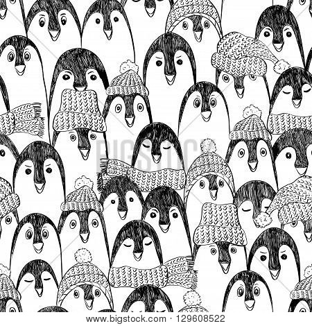 Graphic seamless pattern with cute hand drawn penguins in hats and scarfs. Black and white penguin background.