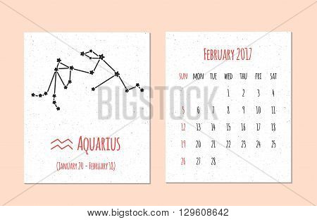 Vector calendar for 2017 in the zodiac style. Calendar for the month February with the image of the Aquarius constellation on beige scratched background Elements for design ideas of your calendar