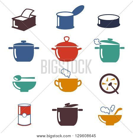 Color soup vector icons. Utensil pan soup, cooking soup, color bowl soup illustration