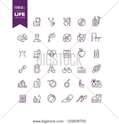 Fitness, sport, bodybuilding and healthy life outline web vector icons. Energy sport bodybuilding, lifestyle sport fitness, lifestyle health sport, icon lifestyle sport fitness illustration