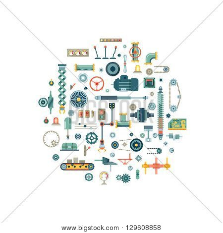 Machine parts flat vector icons in circle composition. Machine gear, machine technology, machine industry, machine engine illustration
