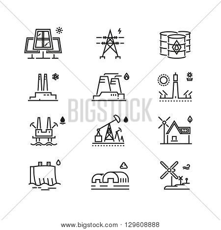 Power generations line icons. Different elements of global energy development. Generation electricity, energy generation, global generation development, power genearation. Vector illustration