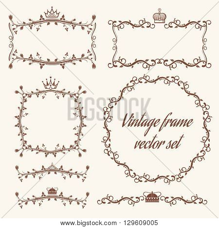 Retro vector frames and headers. Header vintage, frame vintage, decoration vintage frame, decor frame element, wedding vintage frame illustration