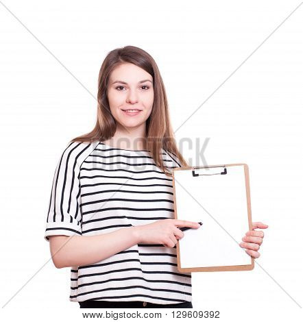 Business woman write on clipboard isolated over white. Stock image.