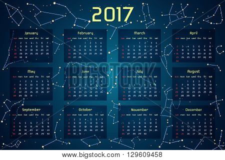 Vector calendar for 2017 in the space style. Calendar with the image of the constellations in the night starry sky. Elements for creative design ideas of your calendar