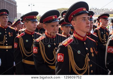 St.PETERSBURG, RUSSIA - MAY 9, 2016: Cadets participants of Russian Army Parade Victory Day - May 9, timed to 71st anniversary of the Victory in the great Patriotic war.