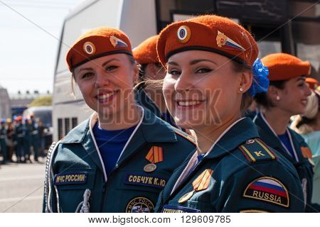 St.PETERSBURG, RUSSIA - MAY 9, 2016: Participants of Russian Army Parade Victory Day - May 9, timed to 71st anniversary of the Victory in the great Patriotic war.