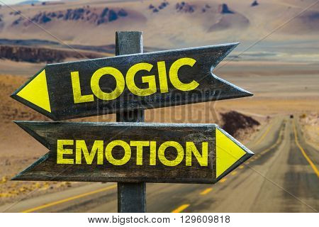 Logic - Emotion crossroad in a desert background