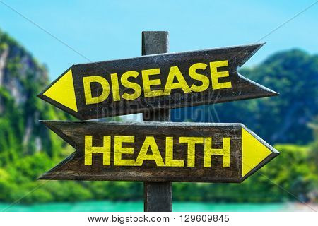 Disease - Health crossroad in a beach background