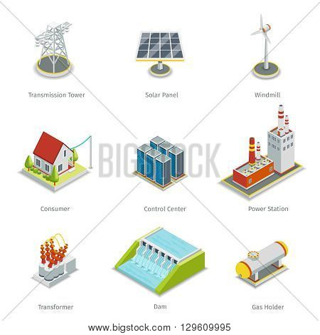 Smart grid elements. Power smart grid items vector set. Energy and electricity, transmission tower, solar panel, windmill and consumer house, control centre, power station illustration