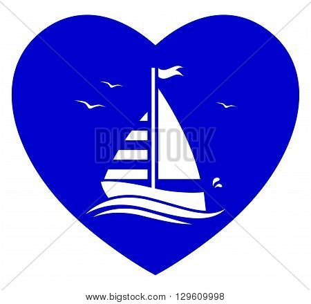 vector floating sailboat isolated on blue heart